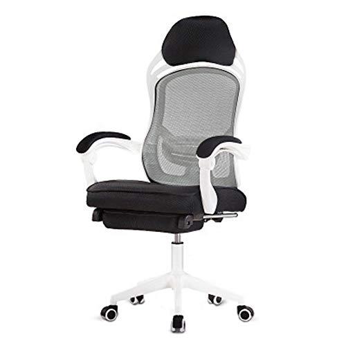 Computerspielstuhl – Ankerstuhl aus Netzstoff, Drehstuhl, Mittagspause, Liegestuhl, Bürostuhl, Weiß