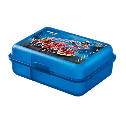 PLAYMOBIL United Labels City Action-Jungen Brotdose Lunchbox Schule Feuerwehr, 17,5 x 12,8 x 6,9 cm, Bunt, 8 x 6, 9 cm