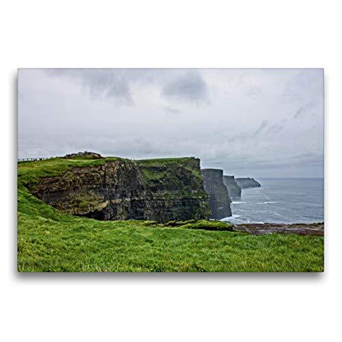 CALVENDO Premium Textil-Leinwand 75 x 50 cm Quer-Format Bekanntschaft an den Cliffs of Moher, Leinwanddruck von Marion Bönner