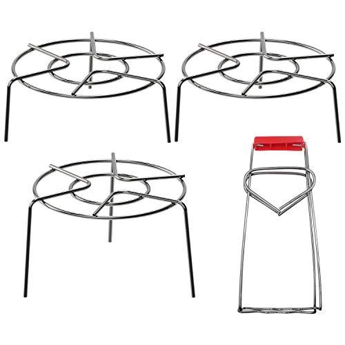 3 PCS Stainless Steel Trivet Rack Stand, 2.36' & 3.93' Tall Heavy Duty Pressure Cooker Steam Rack, Stainless Steel Multifunction Basket for Instant Pot, Pressure Cooker (H01)