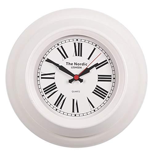 Everyday home Horloge de mur moderne de 12 pouces, rond silencieux à piles de quartz silencieux facile à lire horloge de cuisine pour la maison/bureau/école (Couleur : White1, taille : 32cm)