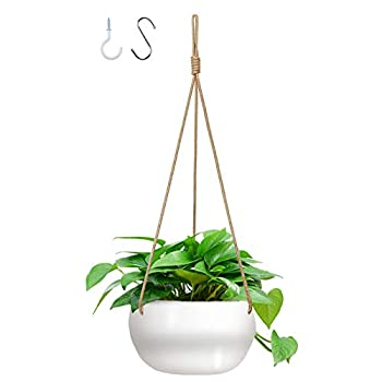 GROWNEER 7 Inches Ceramic Hanging Planter with 2 Hooks White Porcelain Wall Hanging Plant Holder Flower Pot with Nylon Rope for Home Decoration Gift Garden Indoor Outdoor Use
