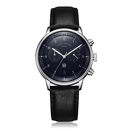 DuFa Unisex Chronograph Quarz Uhr mit Leder Armband DF-9003-03
