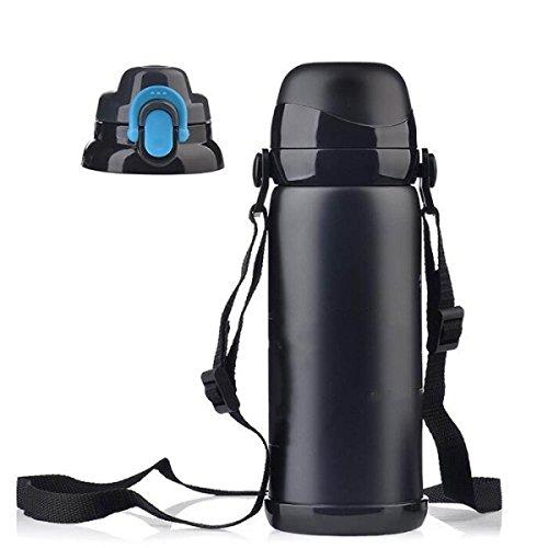 Axiba- RVS Flask Thermosfles Draagbare Geïsoleerde Waterfles Dubbelwandige Koffiemok Camping Vissen Zwart