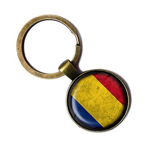Romania Romanian Flag Rumänien Rumänische Flagge Keychain Bronze Schlüsselanhänger
