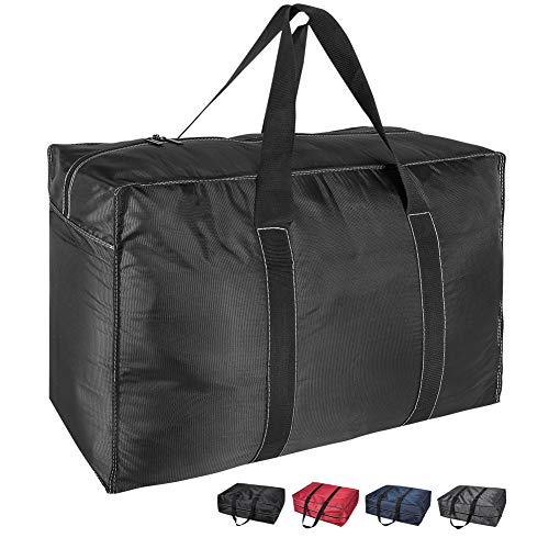 DOKEHOM 130L Thickened X-Large Underbed Clothes Storage Bag with Zip, Moisture proof (Black, XL)
