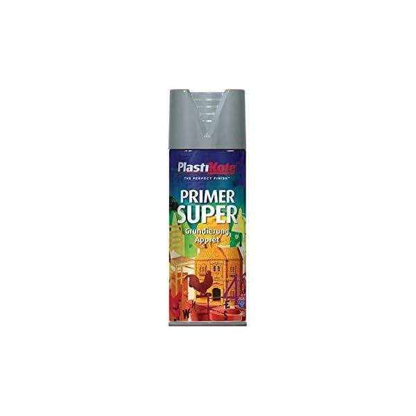 Plasti-kote 1148 400ml Super Enamel Primer - Grey & 1120 400ml Super Gloss - Bright Red