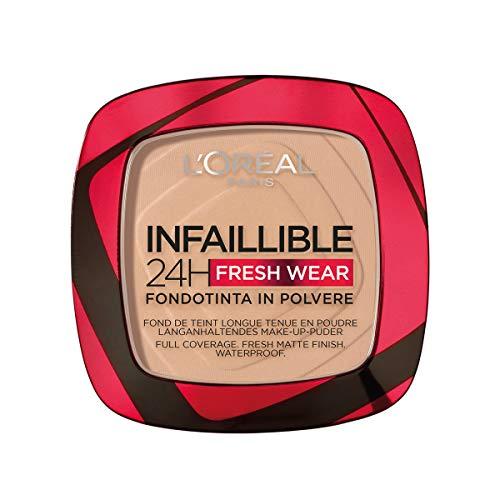 L'Oréal Paris Fondotinta Compatto Infaillible 24H Fresh Wear, Formula in Polvere, Mask-Friendly, Low-Transfer, Waterproof, Copre come Fondotinta e Opacizza come una Polvere, 130 Beige Peau/True Beige