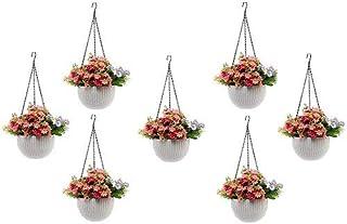 Round Gamla Pot Flower Hanging Round Rattan Woven Plastic Flower Hanging Basket Beautiful Pot for Garden Balcony (7 Pcs, W...