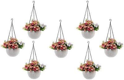 Round Gamla Pot Flower Hanging Round Rattan Woven Plastic Flower Hanging Basket Beautiful Pot for Garden Balcony (7 Pcs, White)