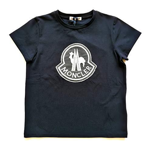Moncler Junior T-Shirt für Mädchen, kurzärmlig, mit Logo 8069505, Blau und Weiß, Blau 128
