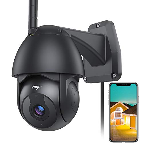 Voger Security Camera Outdoor, Home Security Camera System with 360° View 1080P WiFi Camera Indoor with Motion Detection, Night Vision, 2-Way Audio, IP66 Weatherproof Works with Alexa and Cloud Black