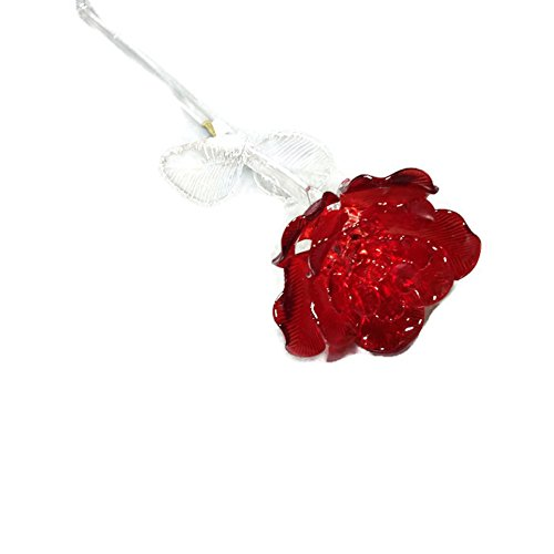 Waterford Crystal Sculpted Glass Red Rose
