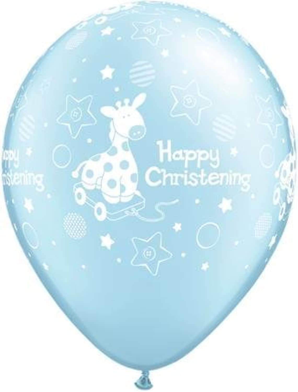 Qualatex 13615 Round Christening Soft Giraffe Pearl Latex Balloon, Light bluee, 11Inch