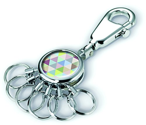TROIKA TRIANGLE ART SCHLÜSSELHALTER – #KYR01-A128 – rund, glänzend – Schlüsselanhänger - Karabinerhaken – 6 ausklinkbare Ringe - Schlüsselorganisation - stylisches Design – TROIKA-Origina
