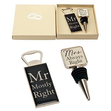 Mr Right & Mrs Always Right  Wine Bottle Stopper and Opener Special Gift Set By Haysom Interiors