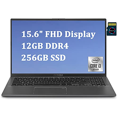 "ASUS VivoBook 15 2020 Newest Thin and Light Laptop I 15.6"" FHD Display I 10th Gen Intel Core i3-1005G1(> I5-7200U) I 12GB DDR4 256GB PCIe SSD I Backlit KB Fingerprint Win 10 + Delca 16GB Micro SD Card"