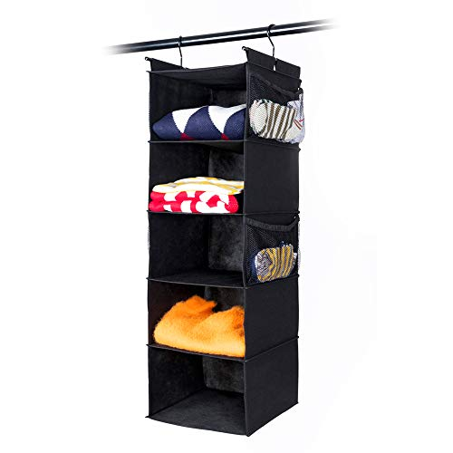 MAX Houser 5 Shelf Hanging Closet Organizer,Space Saver, Cloth Hanging Shelves with (4) Side Pockets,Foldable, Black