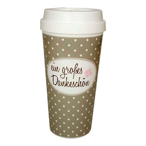 Mea Living beker Coffee to Go plastic beker een groot bedankje 450 ml inhoud reisbeker