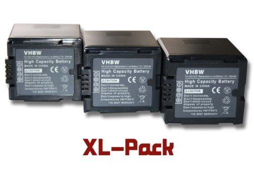 vhbw 3 x Li-Ion batería 1500mAh (7.2V) para cámara Panasonic CGA-DU07, CGA-DU12, CGA-DU14, CGR-DU06VW, VBD070VW, VBD140VW por CGA-DU21