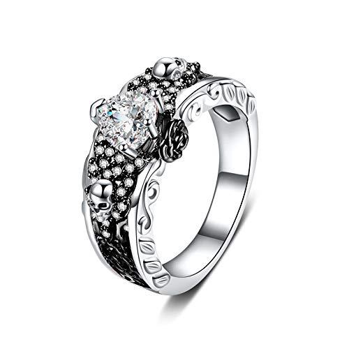 Anillo gótico con diseño de calavera y corazón de rosa, anillo de calavera de plata con topacio blanco, flor de corazón, joyería de boda, anillo para parejas, mujeres y hombres (plata negra, 7)