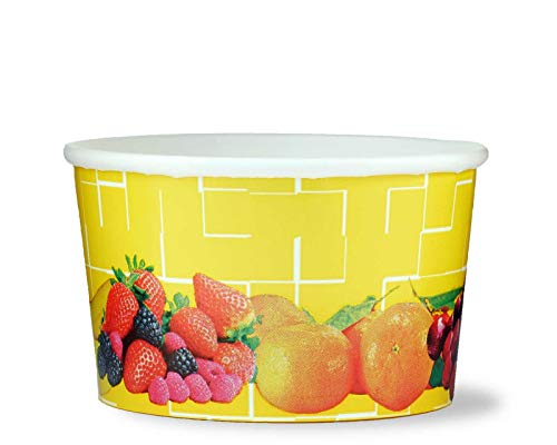 50 tarrinas de helado, tarrina de papel para helado o tarrina para fruta con 260 ml de volumen de llenado, para dos bolas de helado