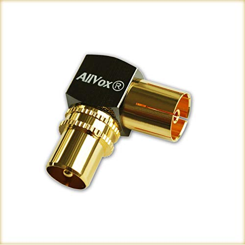 90° IEC Winkeladapter Winkelstecker Vergoldet 90-Grad-Winkel Koaxstecker Adapter für Radio Kabelfernsehen Verlängerungen / Verbindungen über Eck (Stecker auf Buchse) DVB-T DVB-T2 HD (1 x, IEC Winkel)