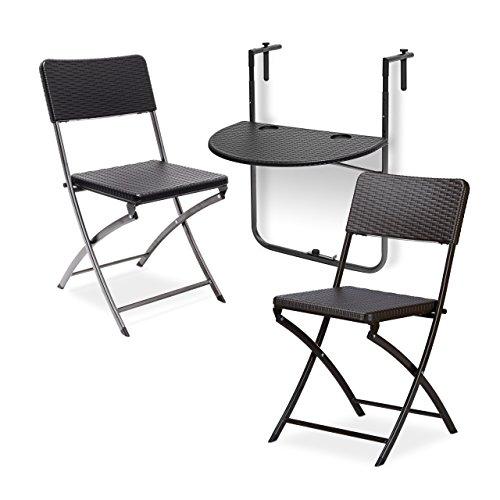 Relaxdays 3 TLG. Sitzgruppe Balkon Bastian, Balkonhängetisch, 2 Klappstühle, klappbar, höhenverstellbar, Rattan-Optik, schwarz