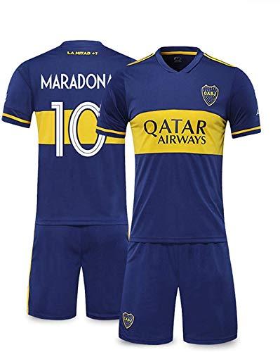 YTTde Conjunto De Camiseta Boca No. 10 Maradona, Traje De Rey Conmemorativo De Campeón De La Copa del Mundo para Fútbol, Regalos, Colección, Azul,XL