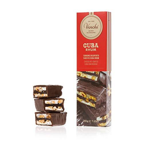 Venchi Barretta Torrone al Rhum Ricoperta 200g - Farcita a Mano con Crema al Rum - Cioccolato Artigianale - Senza Glutine