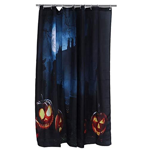 Fictory Halloween Kürbis Duschvorhang - 188x188cm Halloween-Themen-Kürbis-Muster Wasserdichter Duschvorhang Badezimmerzubehör