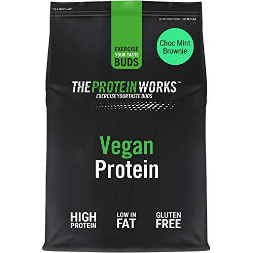Proteina Vegana In Polvere | 100% A Base Vegetale E Naturale | Senza Glutine | Cruelty Free | Frullato A Basso Contenuto Di Zuccheri | THE PROTEIN WORKS | Brownie Menta & Cioccolato | 1kg