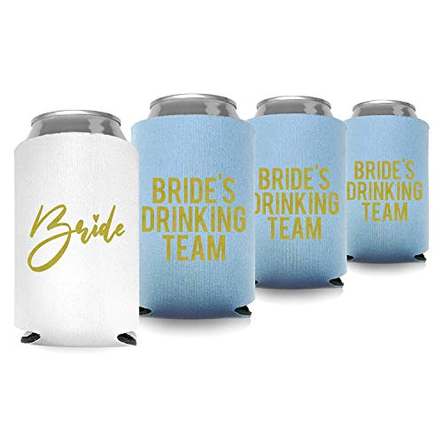 Coolies Can Coolers Insulated Collapsible Beer Soft Drinks Bottle Soda Can Sleeves (Bride & Bride Drinking Team) Durable Insulators Premium Quality for Bachelorette Party (Set of 6) White and Blue
