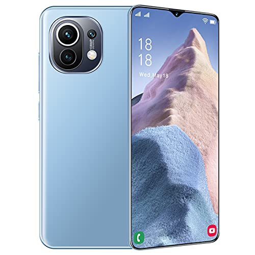 M11Ultra Free Mobile Phone, 6.7inch Screen + Water Drop, 64GB ROM (128GB Scalable Free Mobile Phone), 6800 MAh Battery, Android 11.0 Smartphone, Dual SIM, Micro USB,Blue,L