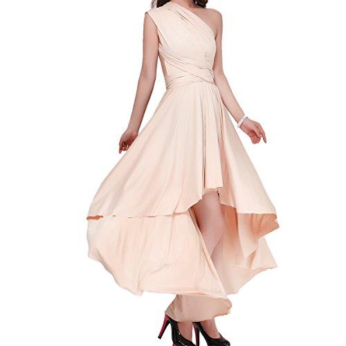 OBEEII Abito Asimmetrico Donna Senza Maniche Sexy Multi Way High Low Bandage Dress Elegante Vestito...