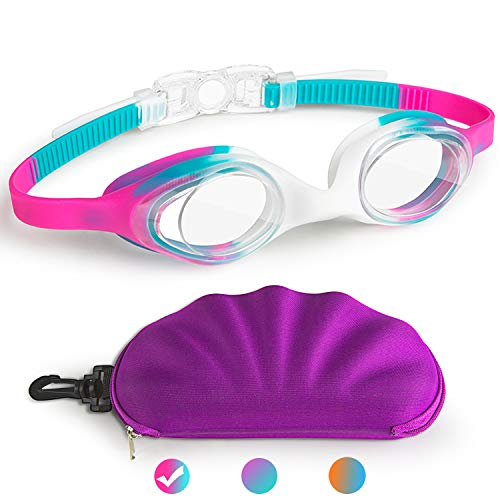 Kids Swim Goggles, Swimming Goggles for Boys Girls Kids Age 2-10 Child Toddler Swim Goggles Wide Clear Vision Easy to Adjust No Leak Anti-Fog UV Protection Soft Silicone Kids Goggles