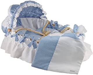 White Pique and Baby Blue Moses Basket