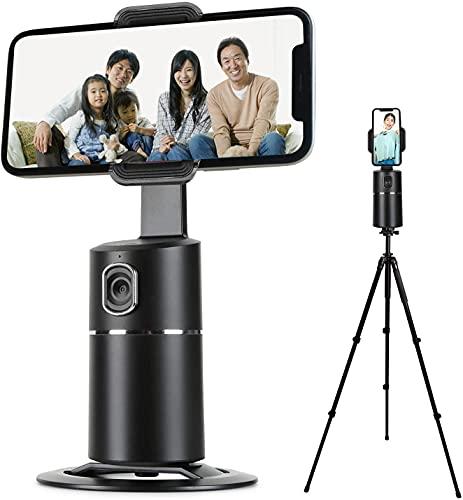 最新型自動顔追跡 スマホ スマホスタンド 卓上 携帯電話自動撮り 自動光補正 リモコンで撮影 360度回 転顔の自動認識 会議 ライブビデオ 授業 ビデオ通話 オンラインクラス 在宅勤務