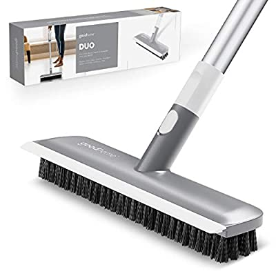 """GOODHOME Floor Brush Scrubber with Long Handle 50"""" -2in-1 Scrub N Scrape- Scrub Brush with Handle - Strong Extendable Cleaning Brush - Home Shower Kitchen Deck Tile Grout Wall - Brush Never Falls Off"""