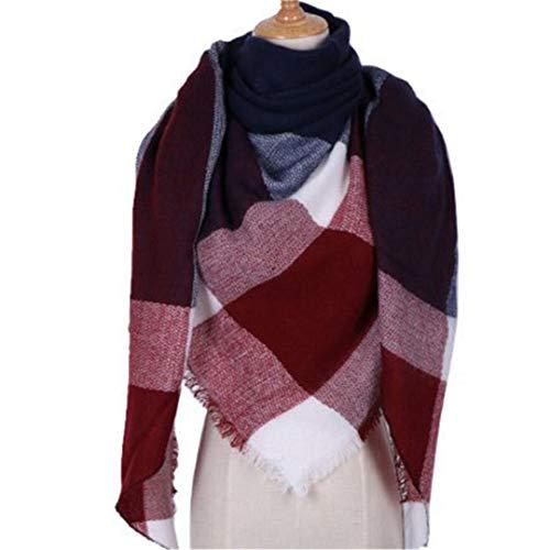 JLDJWSJD Mode Winter-Schal Frauen Warm Plaid Kaschmir-Schal-Female Triangle Street Beat Navy One Size