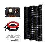 ECO-WORTHY 100W 12v太陽光発電システム 100w新しい単結晶ソーラーパネル +20Aチャージコントローラー +10mケーブル(プラス5m+マイナス5m) + Z 取付金具