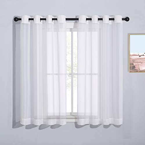 """NICETOWN Grommet Top Sheer Curtains - White Sheer Home Decoration Window Coverings for Loft (54"""" Width x 45"""" Length, Set of 2)"""