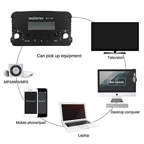 Signstek ST-7C FM Transmitter Mini Radio Stereo Station PLL LCD with Antenna, Black
