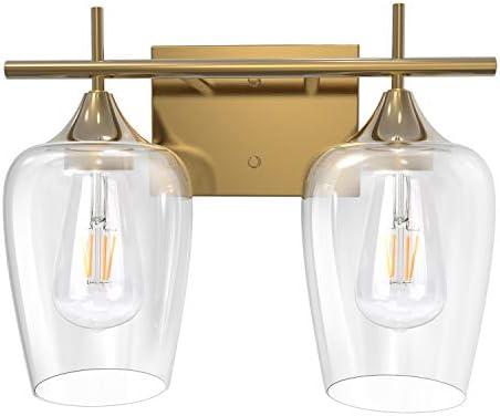 UL Listed 2 Light Bathroom Vanity Light Fixtures JACKYLED Indoor Wall Mount Wall Sconce Brass product image