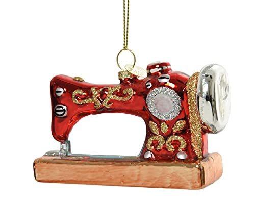 Decoris Christbaumschmuck Glas Nähmaschine 10cm Nostalgie Weihnachtskugeln rot Gold