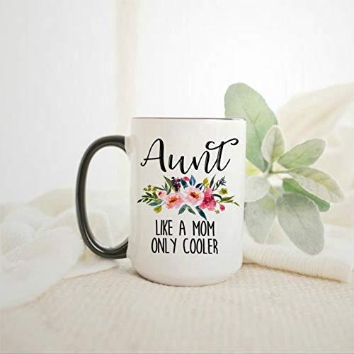 Taza de café con texto en inglés 'Aunt Like A Mom Only Cool', regalo de tía para hermanas y recién nacidos, para regalo de Navidad, cumpleaños para hombres y mujeres