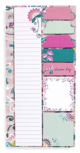 Vera Bradley Planner Sticky Notes, 9 Pack with 3 Sizes and 30 Sheets/Pad, Blush Flowers