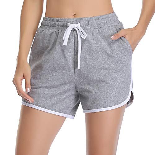 Aibrou Short de Sport Femme,100% Coton Pantalon Décontracté Été avec Bandes Latérales pour Sport,Course,Fitness