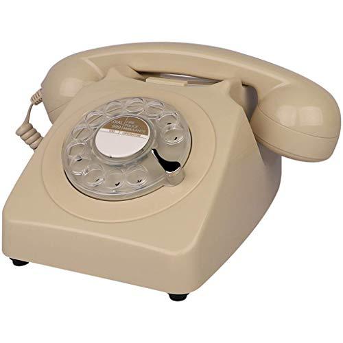 TRTT Teléfono Fijo con Cable de diseño Retro de línea Fija Europea clásica - Teléfono de la Bobina de la Oficina en casa de la Mesa de Escritorio del Estilo del dial Giratorio clásico Retro de la