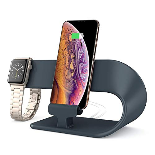 hooroor Handy Ständer, Handyhalterung, Handy Halterung, Ladestation Stand Ladeständer Halter für Phone 11 Pro, Xs Max, Xs, XR, X, 8, Apple Watch Series 5, 4, 3, 2, 1, iPad Dock Station (Dunkles grau)